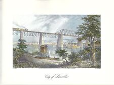VINTAGE ART PRINT OF EARLY PICTURESQUE AMERICA - 1874 - LOUISVILLE