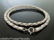 """3mm White Braided Leather Sterling Silver Necklace Or Wristband 16"""" 18"""" 20"""" 22"""""""
