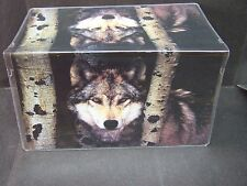 TIMBER WOLF IN WOODS VINYL CHECKBOOK COVER