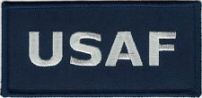 """2"""" x 4.5"""" USAF US Air Force Gray Embroidery on Blue Twill Patch"""