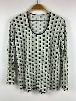 Country Road Womens Long Sleeve Top Size Medium Scoop Neck Geometric Pattern