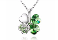 Silver Crystal 4 four Leaf Leaves Clover pendant necklace Jewelry Women
