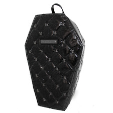 Rock Rebel Lucy Quilted Coffin Backpack Blk Silver Spiders Horror Halloween Goth