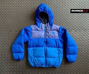 The North Face Boys Hooded Down Jacket REVERSIBLE Puffer 550 Size S ROYAL BLUE