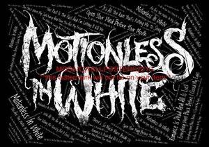 """MOTIONLESS IN WHITE TYPOGRAPHY BORDERLESS MOSAIC 34""""X24"""" WALL POSTER OR A4 PRINT"""