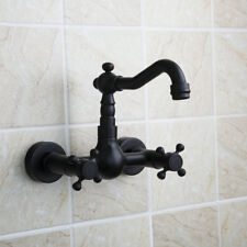 Bathroom Oil Rubbed Bronze Faucet Double Handles Wall Mounted Mixer Black Tap
