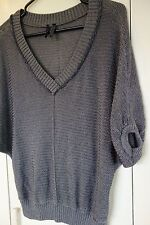 Guess Women's Sweater, Dark Gray W/Silver/Metallic Thread Sparkle Boxy Drape S