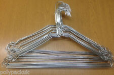 """100 Strong Silver Notched Metal Wire Clothes Coat Hangers 40cm 16"""" 13G"""