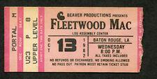 Original 1982 Fleetwood Mac Concert Ticket Stub Baton Rouge The Mirage Tour