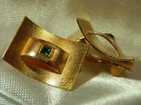 Vintage 80s Padded Clip Green Rhinestone Modernist Gold Tone Earrings 103F9