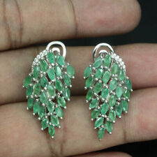 Sterling Silver Natural Green Emerald and Lab Diamond Cluster Earrings