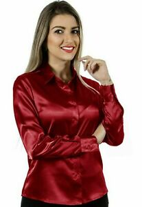 Women Satin Work Casual Office Shirt Button Down Solid Collar Blouse - Maroon