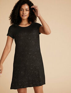 MARKS AND SPENCER FOIL PRINT SHORT NIGHTDRESS BLACK MIX COLOUR SIZE 14