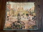 Vintage Tapestry hand made 18 x 20 European city square scene fountain