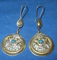 "Earrings Circle Afghan Kuchi Tribal Alpaca Silver 1 1/4"""