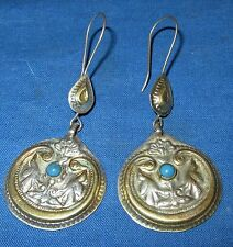 "Earrings Circle Turquoise Afghan Kuchi Tribal Alpaca Silver 1 1/4"""