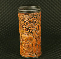 chinese old boxwood hand carved leisurely old man  figure statue tea caddy gift
