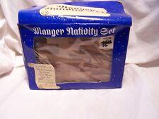 Vintage 1989 Hand carved Olive Wood Manger Nativity Set Made in Israel In Box