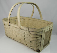 Woven Field Basket baby bassinet w/ Feeding door Tobacco growers Aged Paint