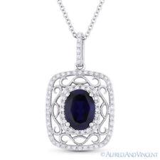 Antique Style Blue Sapphire & Diamond Pendant Necklace 14k White Gold