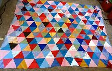"""Vintage HAND Stitched PIECED Satin Triangles QUILT TOP 93"""" by 68"""""""