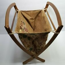 Vintage Sewing Knitting Basket Folding Tote Wood Fabric Curved Floral 1950's