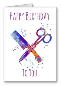Hairdresser Barber Happy Birthday Card Scissors Comb Watercolour Effect 2