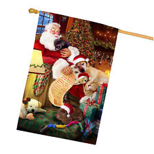 Labrador Retriever Dog and Puppies Sleeping with Santa House Flag