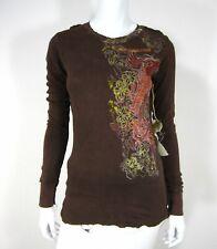 Monarchy NWT Crew Neckline 100% Cotton Long Sleeve Blouse Sz M Medium Brown 086