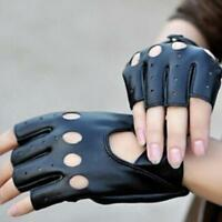 Black Fashion Women's PU Leather Half Finger Short Gloves Fingerless Driving KI