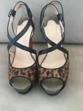 Christian Louboutin Criss Cross Leopard Sandals Black Shoes Sz 6 EU 36 $1095