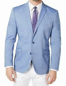 Unlisted Kenneth Cole Mens Sport Coat Blue Size 44 Long Chambray Blazer $295 212