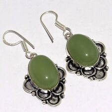"Plated Earrings 1.8"" Mm-33288 Chalcedony 925 Silver"