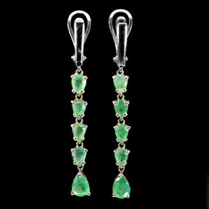 Unheated Pear Emerald 7x5mm 14K White Gold Plate 925 Sterling Silver Earrings