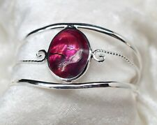 Mexico Alpaca Silver Oval Pink Dyed Abalone Inlay Cuff Bracelet
