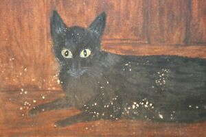 """Antique Primitive Painting Cat Mourning Portrait Early American Folk Art """"1881"""""""