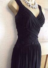 Lovely Coast ❤️ Black Floral Applique Romantic Vintage Style Dress Size 14 Party