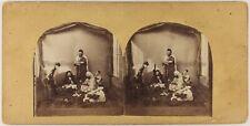 Scène orientaliste c1860 Photo Félix Moulin (attribué à) Stereo Vintage Albumine