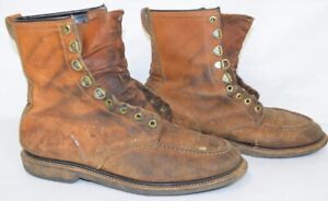 Vintage Field & Stream Boots Mens Shoes LACE UP 10.5 E Moc Toe Distressed Worn