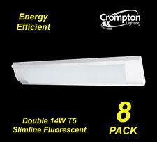 8 x Crompton Double 14W T5 Slimline T5 Fluorescent Light with Diffuser