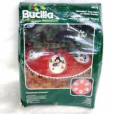 Bucilla Jeweled Felt Snowman Tree Skirt Christmas Cameos 48978 Applique Kit VTG