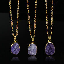 New Natural Druzy Rock Crystal Pendant Necklace Quartz Clusters Geode Stone Gems