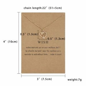 Womens Necklace Heart Pendant Gold Clavicle Chains Choker Card Jewellery Gifts