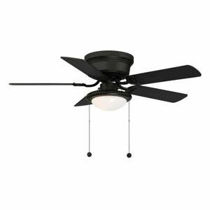 Hugger 44 in. LED Indoor Matte Black Ceiling Fan with Light Kit