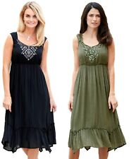 Plus size 8-38 UK Ladies womans summer beach gypsy boho dress black or khaki