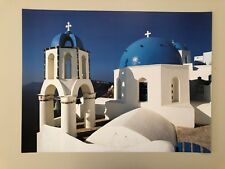 SANTORINI,CYCLADES,GREECE PHOTO BY PIERRE PUTELAT  RARE AUTHENTIC 2001 ART PRINT