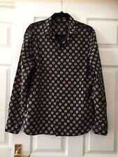 All Saints Mens Black Print Razor Long Sleeve Shirt Size Medium