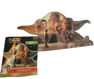 Vintage 1999 Star Wars Episode 1 Yoda Shaped Jigsaw Puzzle 100 Pieces Hasbro