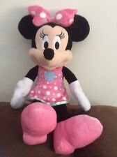 """Disney/Just Play Minnie Mouse- Pink Polka Dot Dress & Bow,Pink Shoes 14"""" Plush"""