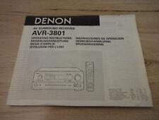 Originale Denon Bedienungsanleitung für AVR-3801